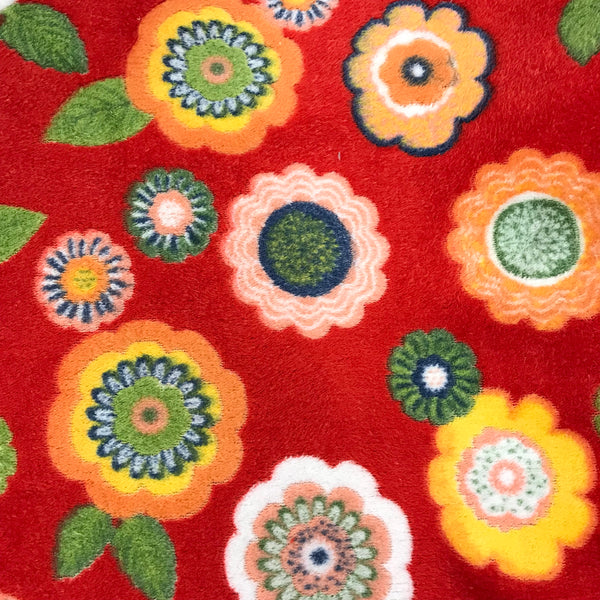 Super Soft Fleece - Flower Power - Red