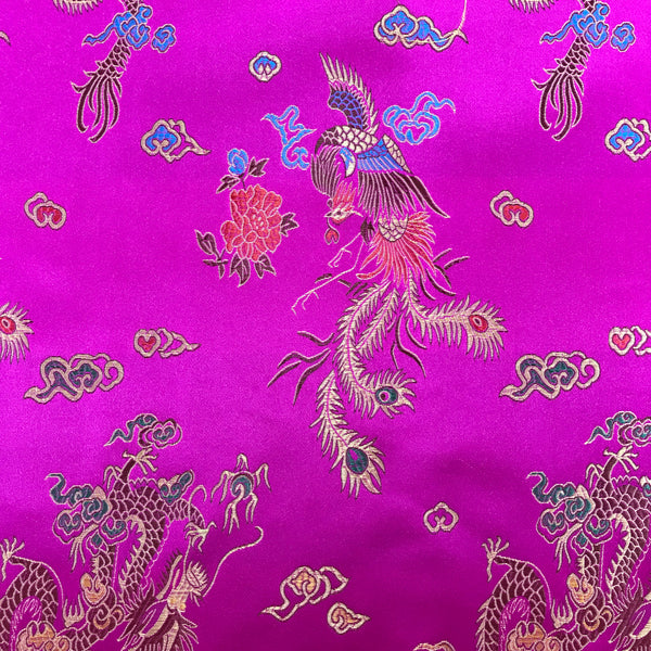 Chinese Brocade Dragon Print Satin - Cerise