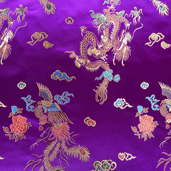 Chinese Brocade Dragon Print Satin - Purple - Sold By Half Metre