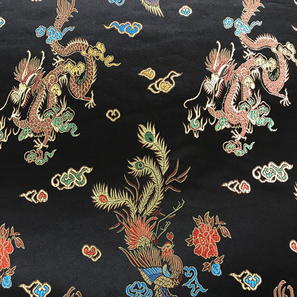 Chinese Brocade Dragon Print Satin - Black