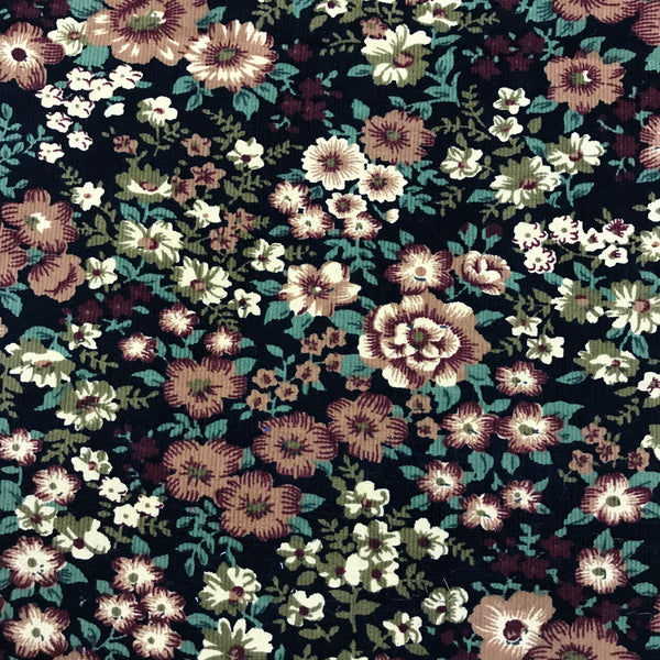 Fine Needlecord - Floral - Brown