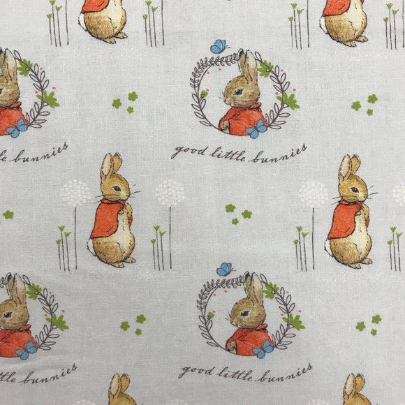 100% Cotton - Peter Rabbit - Good Little Bunnies - Sold by Half Metre