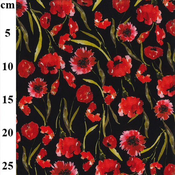 Digital Jersey - Doodle Poppy  - Sold By Half Metre