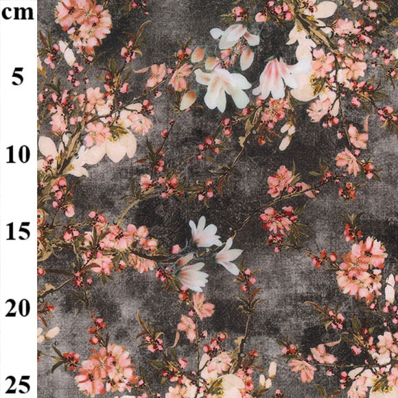 100% Viscose - Oriental Floral - Grey - Sold By Half Metre