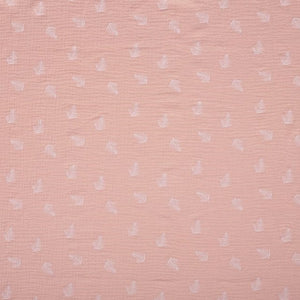 Double Gauze (Muslin) - Leaves Peach - Sold by Half Meter