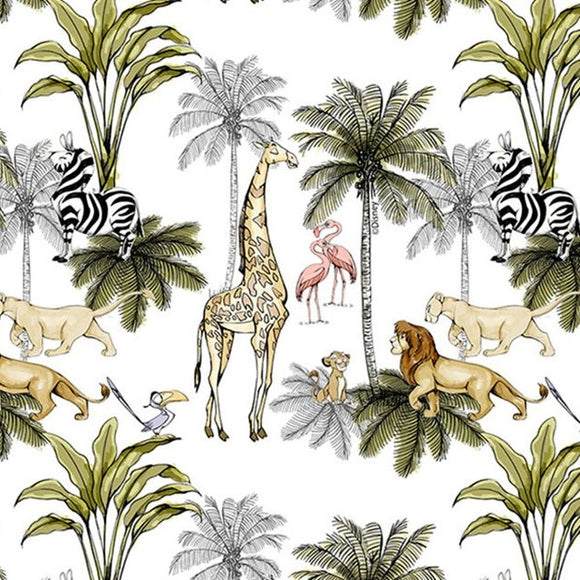 100% Cotton Poplin - Little Johnny Lion King - Sold By Half Metre
