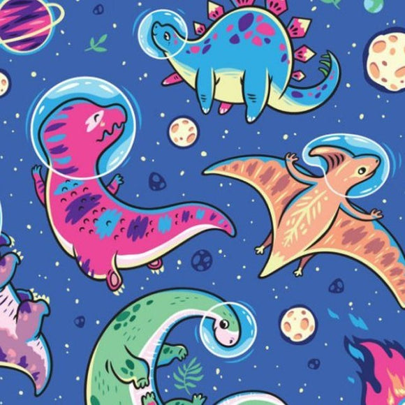 100% Cotton Poplin - Dino Space - Sold By Half Metre