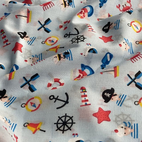 Polycotton Children's Print - Pirates' Sealife Sky Blue - Sold by Half Metre - Clearance