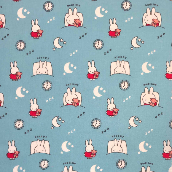 100% Cotton - Miffy - Bedtime Blue SPECIAL OFFER - Sold by Half Metre