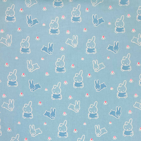 100% Cotton - Miffy - Spring Bunny Blue SPECIAL OFFER - Sold by Half Metre