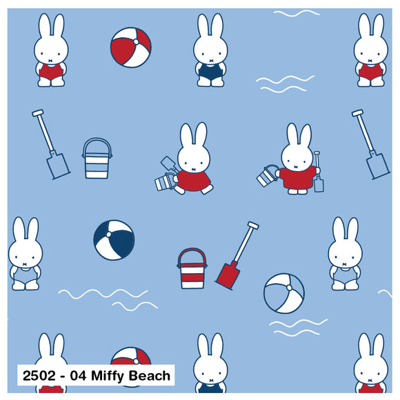 HALF PRICE OFFER - 100% Cotton - Miffy on the Beach - Sold by Half Metre