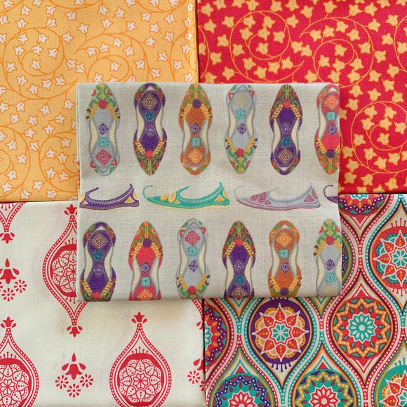 100% Cotton Fat Quarters - New Delhi Shoes