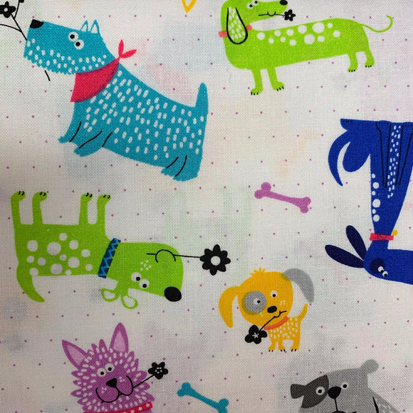 100% Cotton  - Funky Dogs- Sold by Half Metre