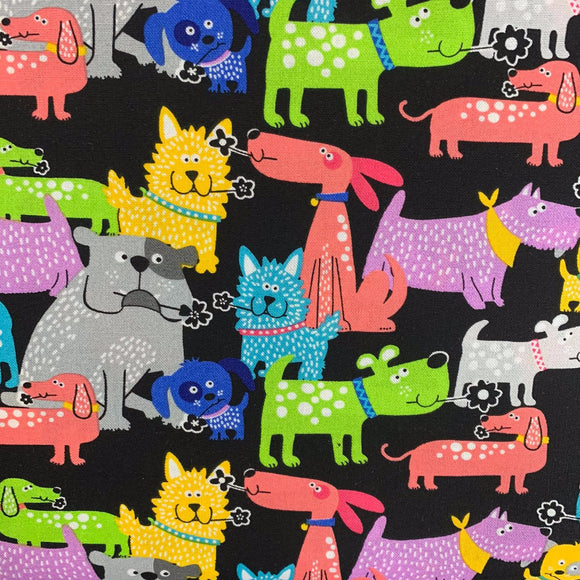 100% Cotton  - Funky Dogs - Black - Sold by Half Metre