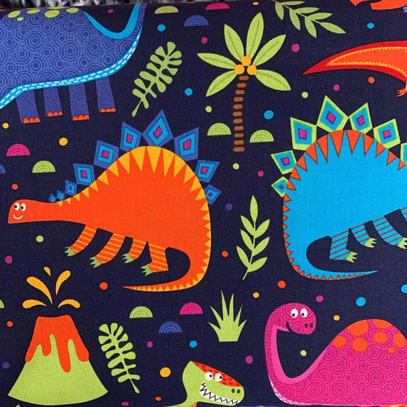 100% Cotton  - Dino Land - Black - Sold by Half Metre