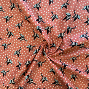 100% Cotton  - Swallows and Bows - Sold by Half Metre