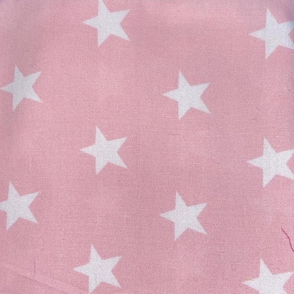 Remnant 2803 1.65m 100% Cotton Pink Star 112cm Wide