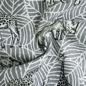 100% Cotton (Heavyweight)  - Safari Animals - Grey - Sold by Half Metre