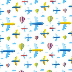 Polycotton Print Children's - Up Up And Away - Sold by Half Metre