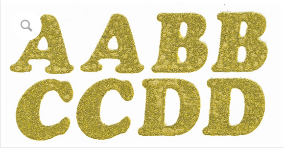 Glitzerz Iron on Letters - Gold