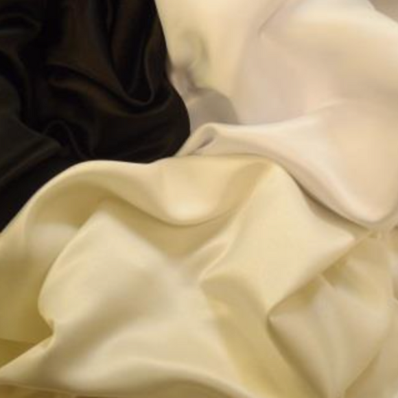 Duchess Satin - White/Black/Ivory - Sold By Half Metre