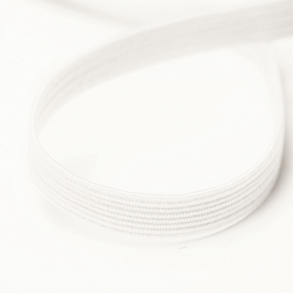 6mm Wide Knitted Elastic - White/Black
