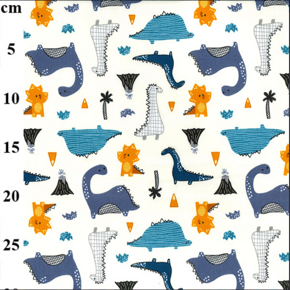 100% Cotton Fat Quarter - Off White Dinosaur