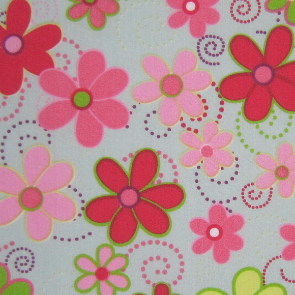 Polycotton Print - Colourful Flower Spray Sage - Sold by Half Metre