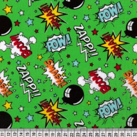 20% OFF Polycotton Children's Print - Boom Pow Wow - Green - Sold by Half Metre