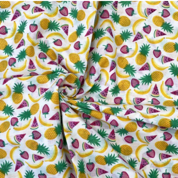 CLEARANCE - Polycotton Children's Print -Fruit Salad - White - Sold by Half Metre