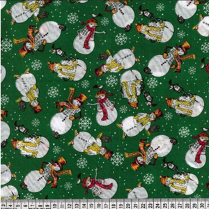 Polycotton Christmas Prints - Green Snowman - Sold by Half Metre