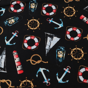 100% Cotton  - Nautical Black - Sold by Half Metre