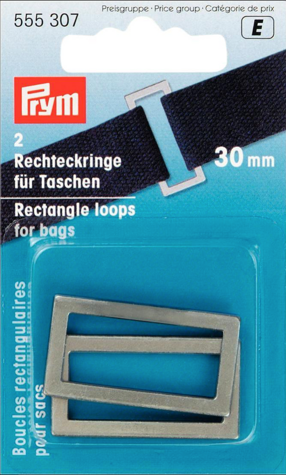 Rectangle Loops for Bags -  Silver 30mm