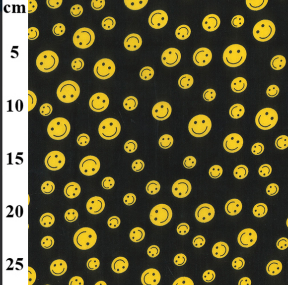 Polycotton - Yellow Smiley Faces - Sold by Half Metre