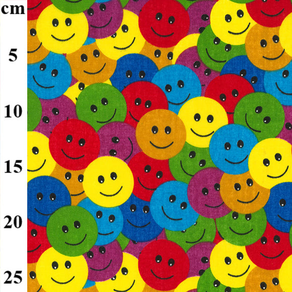 Polycotton Print - Smiley Faces - Sold by Half Metre