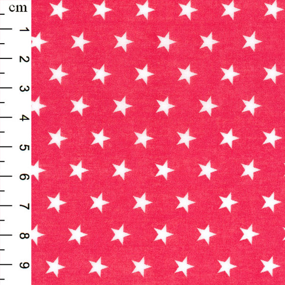 Polycotton Print - Star - Cerise - Sold by Half Metre