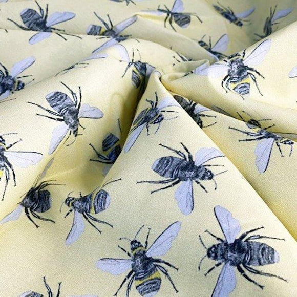 100% Cotton Poplin - Digital Print Bee - Lemon - Sold By Half Metre