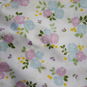 Polycotton Children's Print - Small Triple Rose Lilac/Blue - Sold by Half Metre