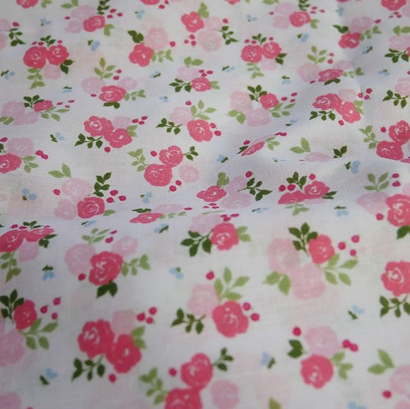 Polycotton Children's Print - Small Triple Rose Pink- Sold by Half Metre