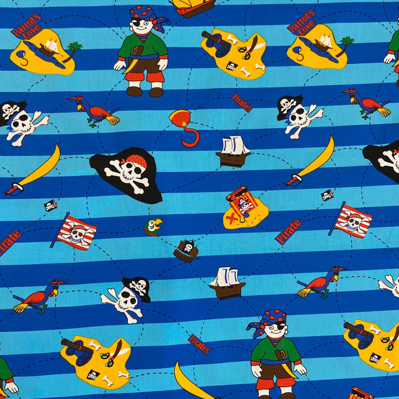 100% Cotton  - Treasure Island Pirate - Sold by Half Metre - CLEARANCE