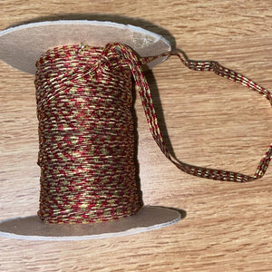 4mm Wide Elastic - Metallic Red and Gold Stripe
