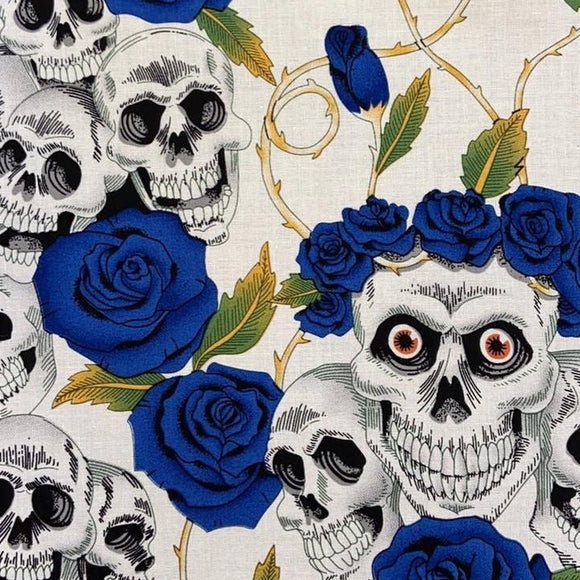 100% Cotton  - Blue Rose Skull - Sold by Half Metre