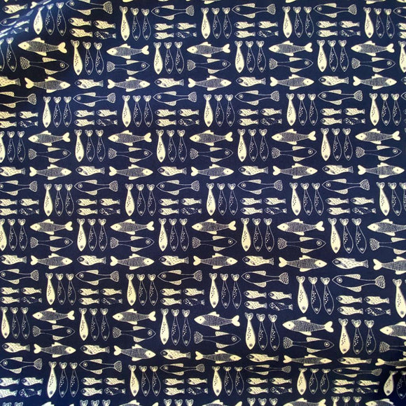 Remnant 308086 0.7m 100% Cotton Navy Fish 112m Wide