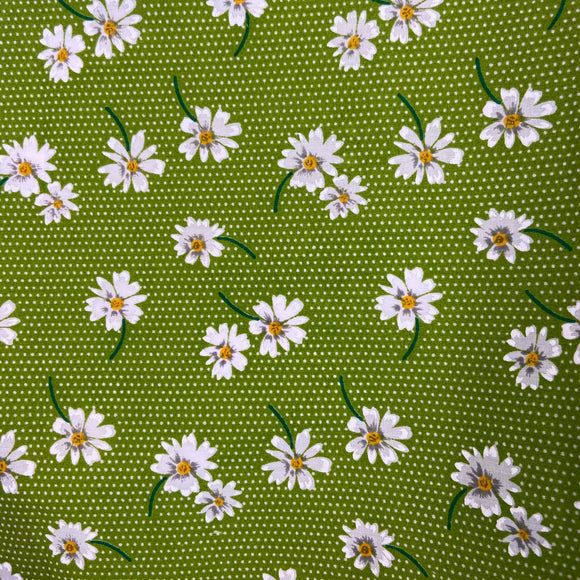 Polycotton Print -  Daisy - Green - Sold by Half Metre