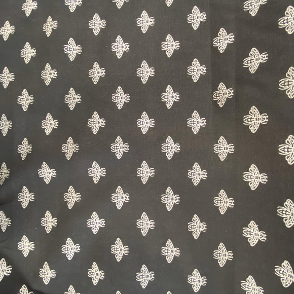 Newbees - Black and Silver Metallic Soft Cotton Canvas - Sold by Half Metre