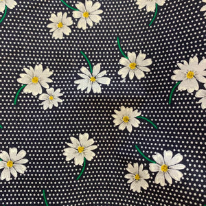 Polycotton Print - Navy Daisy - Blue - Sold by Half Metre