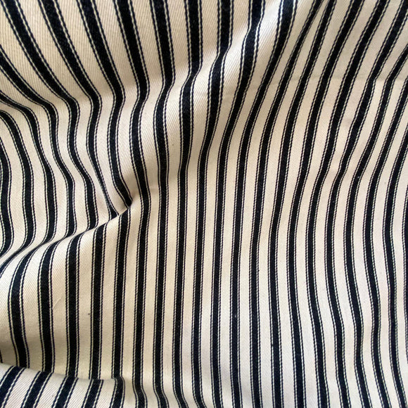 100% Cotton Canvas - Ticking Stripe Black - Sold by Half Metre