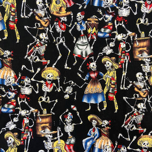 100% Cotton  - Crazy Skeletons - Sold by Half Metre
