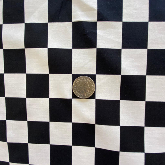 Remnant 2817 1.45m 100% Cotton Black and White Check 112cm Wide