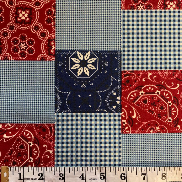 SALE 100% Cotton - Bandana Patchwork - Sold by Half Metre